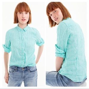 J. Crew • Irish Linen Perfect Shirt Sz 8